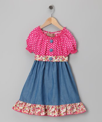 Pink Polka Dot Denim Dress - Toddler & Girls