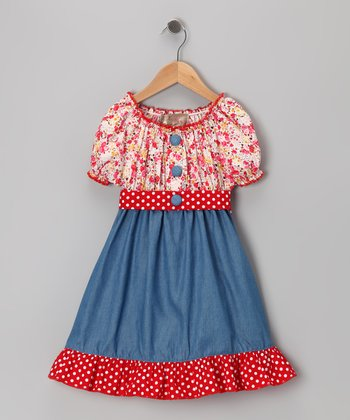 Red Denim Floral Dress - Toddler & Girls