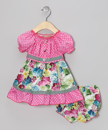 Pink Polka Dot & Blue Floral Peasant Dress & Bloomers - Infant