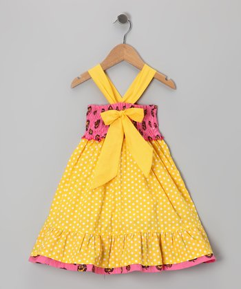 Pink & Yellow Polka Dot Bow Dress - Toddler & Girls