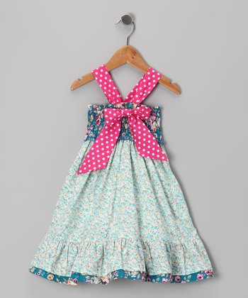 Blue & Pink Polka Dot Floral Bow Dress - Toddler & Girls