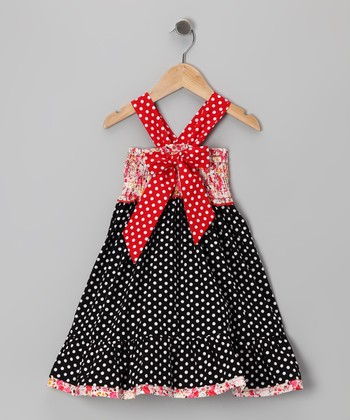 Black & Pink Polka Dot Bow Dress - Toddler & Girls