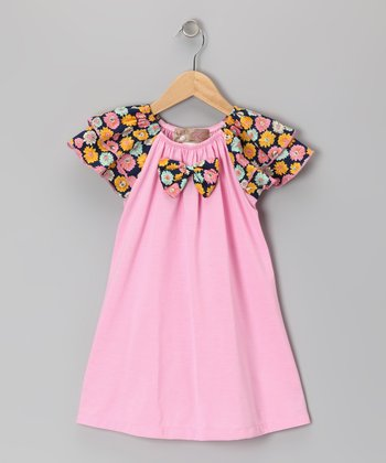 Pink & Black Daisy Bow Tie Dress - Toddler & Girls
