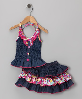 Pink Denim Floral Ruffle Halter Dress - Toddler & Girls