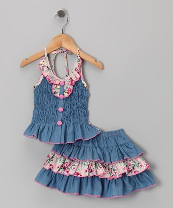 Light Pink Denim Floral Halter Top & Skirt - Toddler & Girls