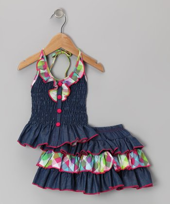 Pink Denim Plaid  Halter Top & Tiered Skirt - Toddler & Girls