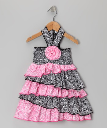 Black & Pink Paisley Halter Dress - Infant,Toddler & Girls