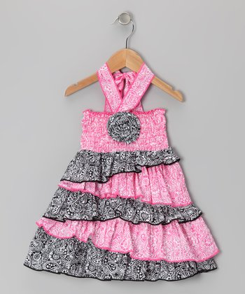 Pink & Black Paisley Halter Dress - Infant, Toddler & Girls