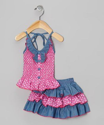 Pink Polka Dot Halter Top & Skirt - Toddler & Girls