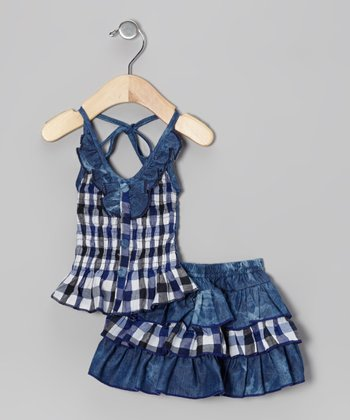 Blue Denim Gingham Halter Top & Skirt - Toddler & Girls