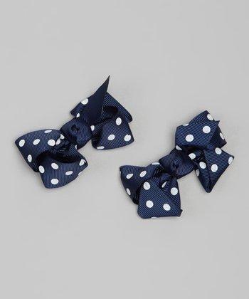 Navy Polka Dot Bow Clip Set