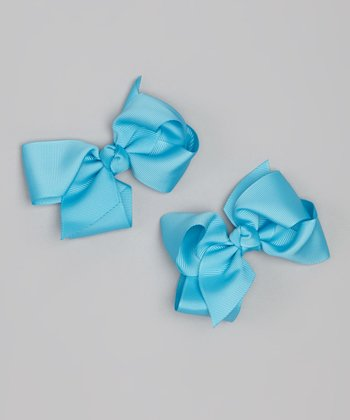 Turquoise Bow Clip Set