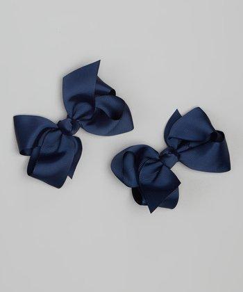 Navy Bow Clip Set