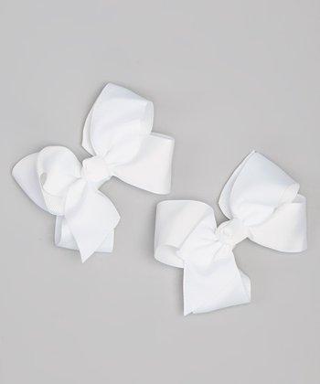 White Bow Clip Set