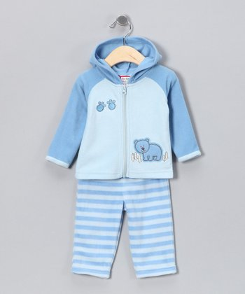 Blue Stripe Bear Zip-Up Hoodie & Pants - Infant