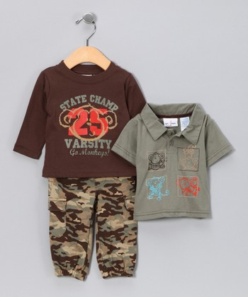 Brown Camo Monkey Pants Set - Infant