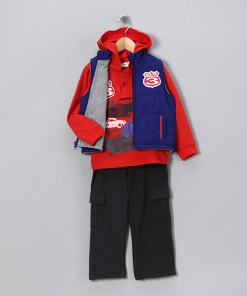 Royal Blue & Red 'Route 3' Vest Set - Toddler & Boys