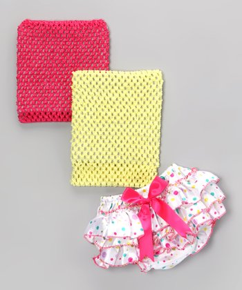 Pink Polka Dot Ruffle Diaper Cover Set
