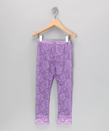 Lavender Lace Leggings - Toddler & Girls