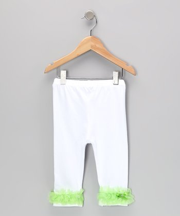 White & Lime Ruffle Leggings - Toddler & Girls