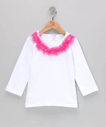 White & Pink Ruffle-Collar Tee - Infant, Toddler & Girls
