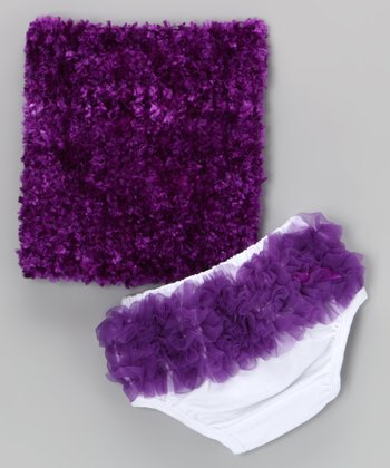 Purple Ruffle Tube Top & Diaper Cover