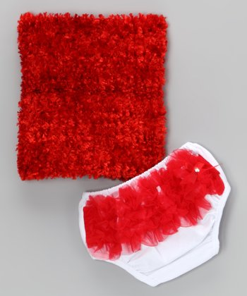 Red Ruffle Tube Top & Diaper Cover