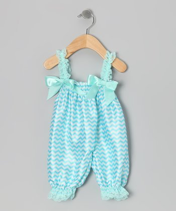 Turquoise Chevron Bubble Romper - Infant, Toddler & Girls