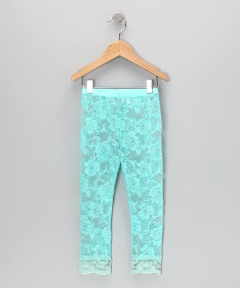 Turquoise Lace Leggings - Toddler & Girls