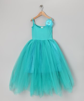 Turquoise Ruffle Dress - Girls