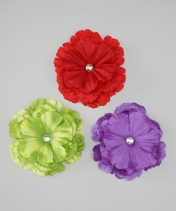 Purple, Red & Green Peony Clip Set