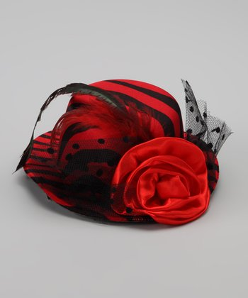 Red Zebra Top Hat Clip