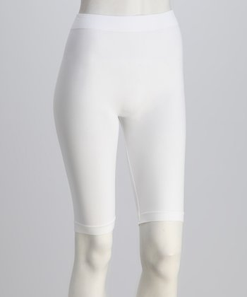 White Bike Shorts Set - Women