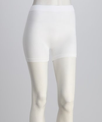 White Elastic Shorts Set - Women