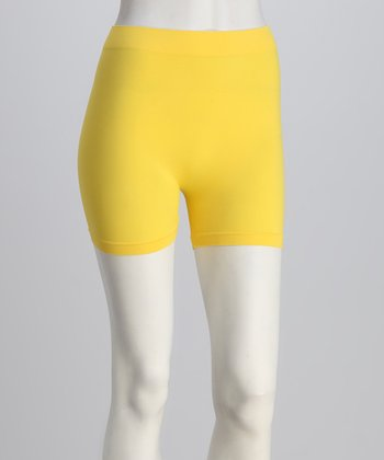 Yellow Elastic Shorts Set - Women