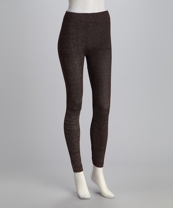 Brown Knit Leggings Set - Women