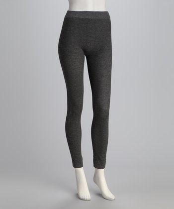 Charcoal Gray Knit Leggings Set - Women