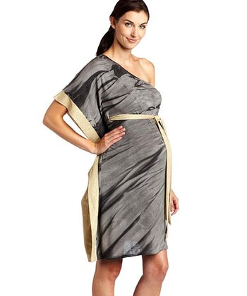 Nuka Charcoal Asymmetrical Bamboo Maternity Dress