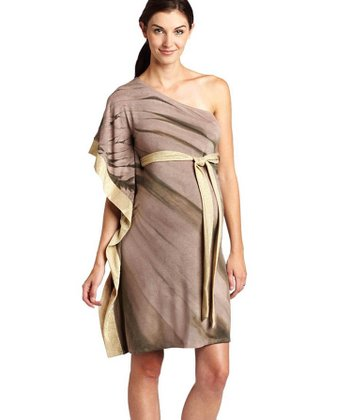 Nuka Taupe Asymmetrical Bamboo Maternity Dress