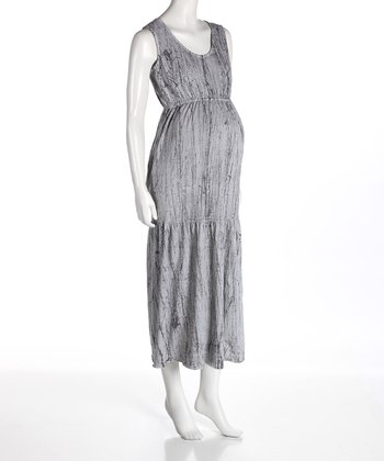 Nuka Gray Ink Maternity Maxi Dress