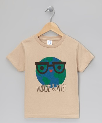 Khaki 'Worldly & Wise' Tee - Toddler & Kids