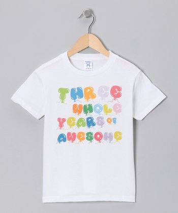 White 'Three Whole Years of Awesome' Tee - Toddler