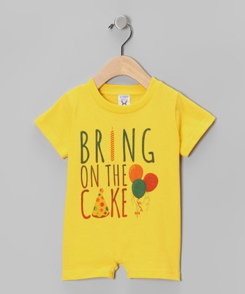 Yellow 'Bring on the Cake' Romper - Infant