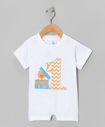 White Present '1' Romper - Infant