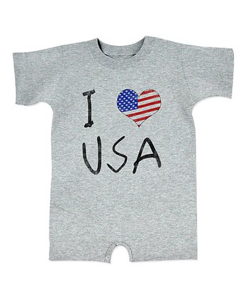 Heather Gray 'I Love USA' Romper - Infant