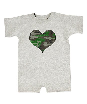 Ash Camo Heart Romper - Infant