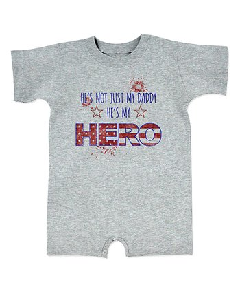 Gray 'He's My Hero' Star Romper - Infant