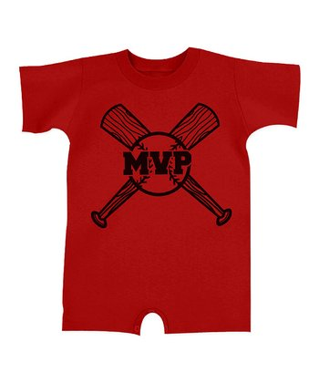 Red 'MVP' Romper - Infant