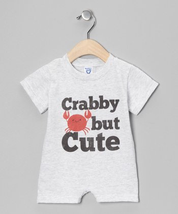Heather Gray 'Crabby But Cute' Romper - Infant