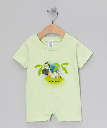 Key Lime Zebra Romper - Infant